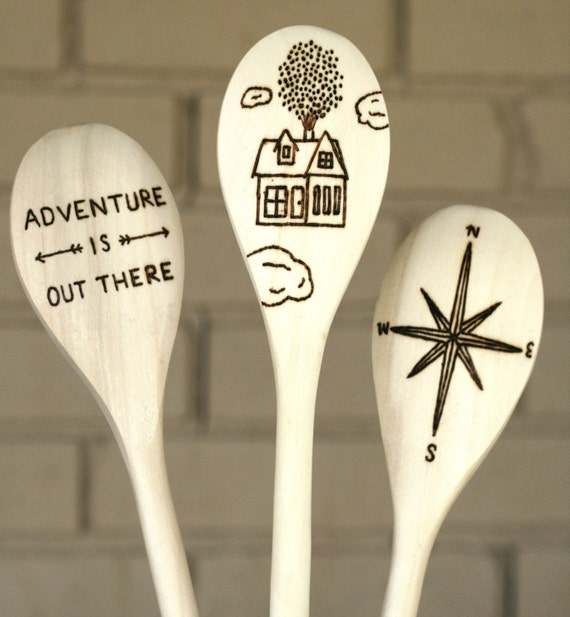 Adventure is Out There - Set of three woodburned spoons - Up the Movie, Pixars Up, wooden spoon gift, compass, graduation gift, kitchen gift
