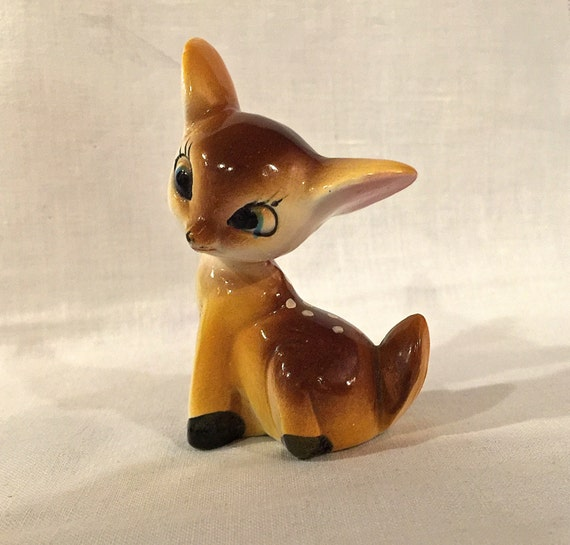 Vintage Small Bambi Fawn Deer Figurine Ceramic Hand Painted