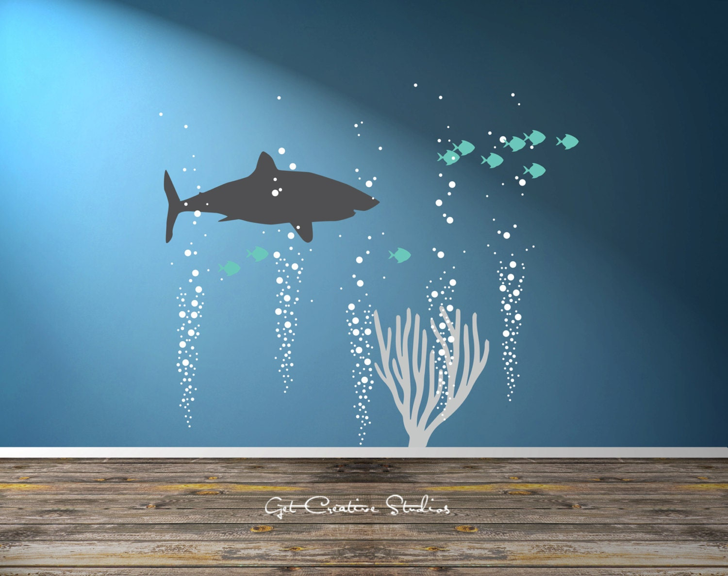 shark decal great white decal ocean scene wall art shark wall. Black Bedroom Furniture Sets. Home Design Ideas