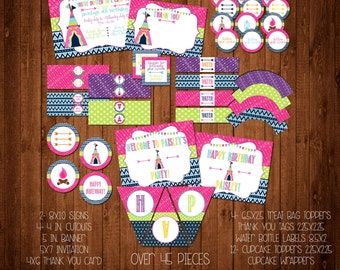 Girl's Glamping Tee Pee or Tent Party Set - Birthday - Package - Campout - Camping
