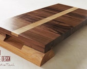 Walnut Cutting and Serving Board, Tiger Maple Inlaid band & Cedar legs, Rustic Kitchen, Perfect gift,  Italian Designed Handle, Wedding Gift