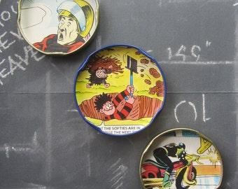 Retro fridge magnets, cute fridge magnets, fridge magnets Superhero Marvel Comic handmade gift upcycled kitchen decor cute fun kitsch gift