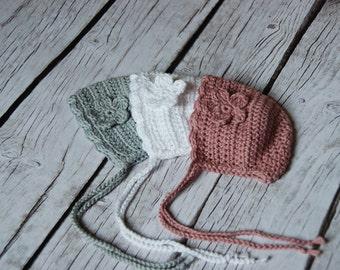 Baby girl bonnet, crochet soft cotton bonnet, newborn hat with ties, bonnets for girls, photo prop for infant, baby shower gift, cotton hat