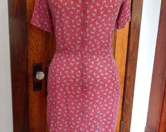 Red paisley zip-up dress