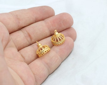Gold Plated End cap, Bead Caps, 13x13mm , Filigree end cap , Cone , BRT142