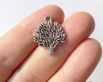 10 Tree of Life Charms - Tibetan Silver - #S0121