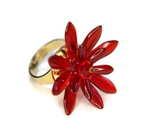 Waterlily Ring in Red,  Flower Ring, Glass Ring, Crystal Ring, Red Ring, Adjustable Ring, Statement Ring