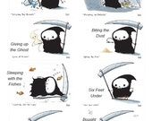 Lil' Grim Reaper Postcard Pack with 8 Different Funny Postcards