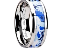 8mm Personalized Tungsten Wedding Ring with Blue and White Camouflage Inlay, Mens Promise Rings, Tungsten Wedding Band, Bands, Promise Ring