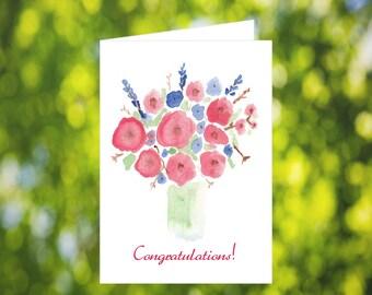 Congratulations Card Download: Watercolor Vase Card - Digital Download - Printable Card - Simple Congratulations Card - Instant Download