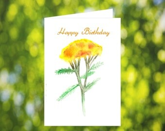 Yellow Flower Birthday Card Download: Watercolor Wild Flowers Birthday Card - Digital Download - Downloadable Card - Birthday Card Mom