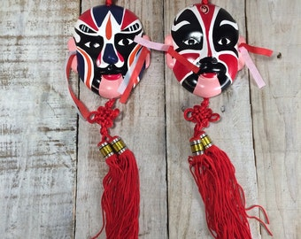 Chinese Mask, Chinese Opera Mask, Chinese Masks, Chinese Wall Hanging - Feng Shui Prosperity, Loyalty, Courage and Heroism Masks