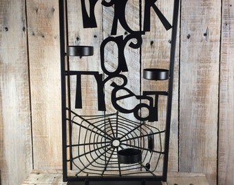 Halloween Home Decor, Trick or Treat, Halloween Candle Holder, Halloween Party Decorations, Halloween Lights Outdoor, All Hallows Eve