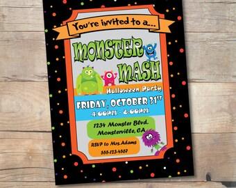 Monster birthday party invitation Monster party invite Kids Halloween party invitation Monster mash Little monster Personalized printable