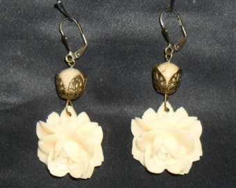 romantic era rose cabochon brass earrings