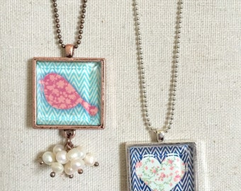 """Floral bird and heart necklace on 18"""" chain"""