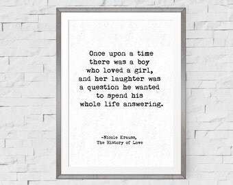 Love Quote, 1st Anniversary Gift, Nicole Krauss, Literary Quote, Book Quote, Typewriter Quote, Second Anniversary Cotton, Romantic Quote