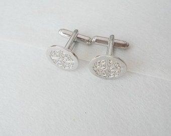 Engraved Wedding Logo Cufflinks,Custom Cuff links White Gold Plated,Groom Cufflinks,Father of the Bride Cufflins,Groomsman Gift