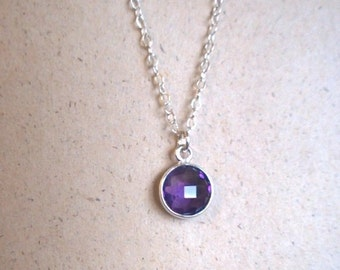 Small amethyst sterling silver necklace; amethyst pendant; silver amethyst necklace; elegant purple amethyst necklace