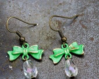 Crystal Bow Earrings, Vintage Style Turquiose Earrings