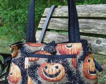 Expandable Handbag-Featuring Jack O' Lanterns