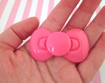 Hot Pink Resin Bow Cabochons, Cute Bow Cabs, #509