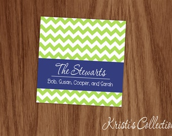 Family Gift Tags - Personalized Calling Personal Card Cards Inserts - Chevron