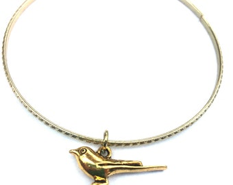 Bird Charm Bracelet - Bird Bangle - Bird Bracelet - Gold Bird Bracelet - Gold Jewelry - Stacking Bangles