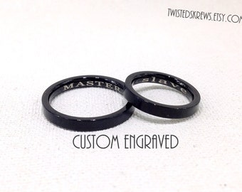 CUSTOM BDSM HIDDEN message ring Black Stainless Steel personalized engraved 4mm submissive jewelry daddy kitten babygirl sir little ddlg