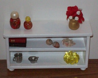 White 1:12 scale credenza/ 1 12 scale shelves/ 1 12 scale storage/ 1 12 scale furniture/  miniature furniture/ dollhouse furniture/ shelf