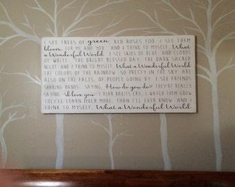 What a Wonderful World Song Lyric shadow box wood sign *Inspirational Handmade wood sign 24x48
