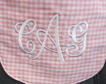 Pink and White Monogrammed Baby Bib, Personalized Baby Bib