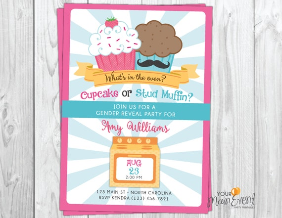 Gender Reveal Invitation - Gender Reveal Party - What's In The Oven - Cupcake or Stud Muffin - Boy or Girl