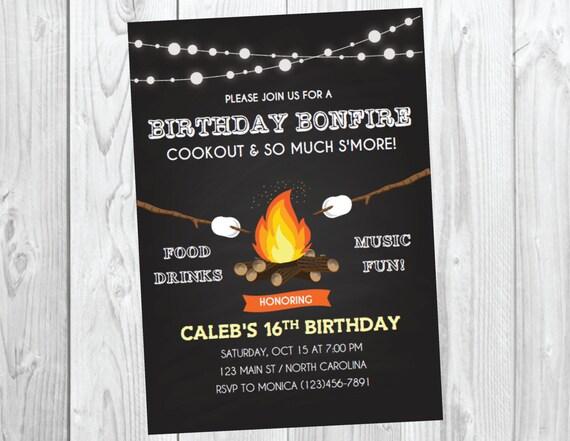 Bonfire Party Invitation / Bonfire Birthday / Fall Birthday Invite / Cookout Party / Camp Out Birthday / Halloween Party