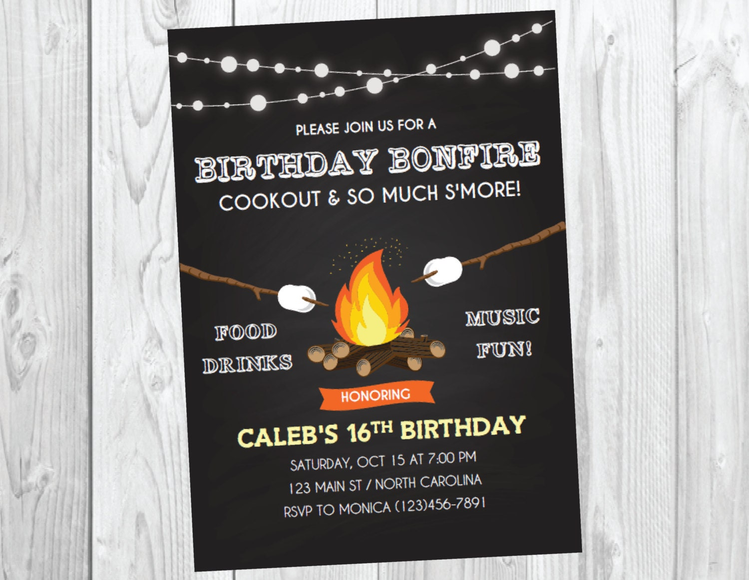 Bonfire Party Invitation / Bonfire Birthday / Fall Birthday