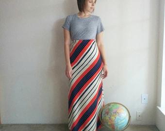 Vintage 70s Striped Maxi Skirt