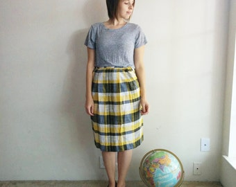 Vintage Yellow Plaid A-line Skirt