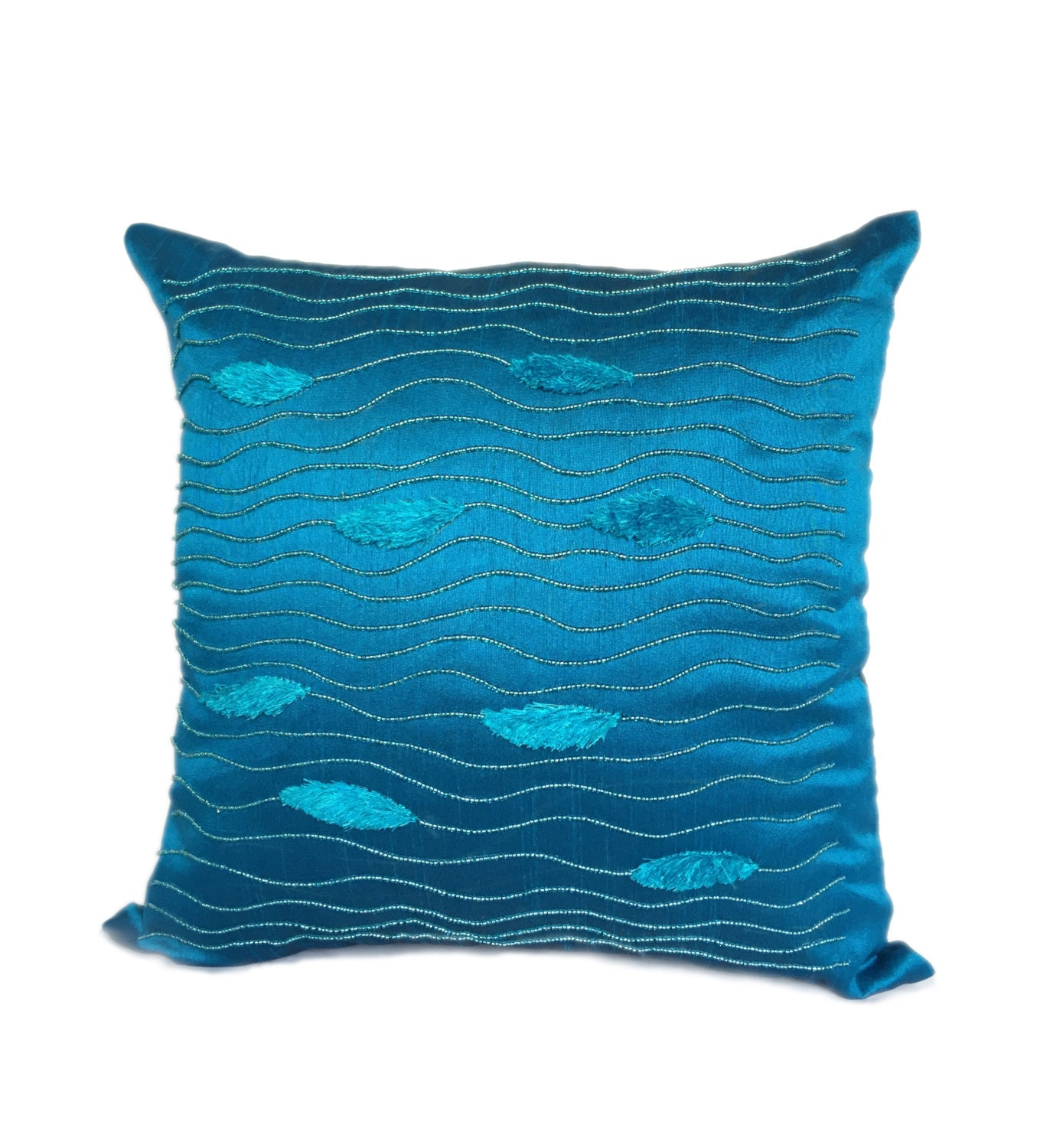 Blue Beaded Throw Pillow : Blue Pillow Cover Beaded In A Wave Pattern Decorative Pillows