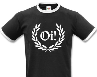 Oi Laurel Ringer T-shirt - Punk Rock, Skinhead, All Sizes/Colours