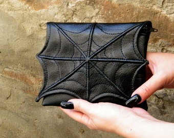 Spider web makeup cosmetic bag for purse, faux leather make up bag, cosmetic spider bag, vegan bag, small makeup bag, goth sider makeup bag