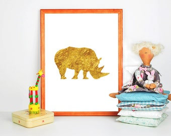 Rhinoceros Print Golden rhino Print Nursery gold Print Gold Wall Art Gold Printable gold animal print Safari print gold glitter nursery art