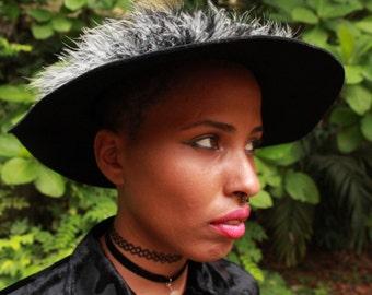 90's Rabbit Fur Black Wide Brim Hat