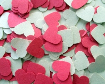 500-Heart confetti-Paper hearts-pink Heart punches-Bridal shower decor-Scrapbook diecuts-punched hearts-embellishments-wedding decorations