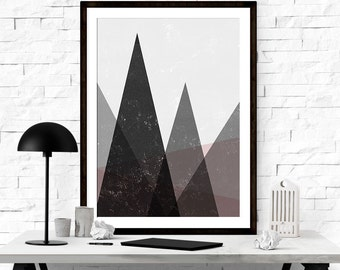 Modern Abstract Art, Abstract Art Print, Mid Century Modern, Printable Geometric, Mountain Wall Art, Geometric Wall Art, Modern Decor