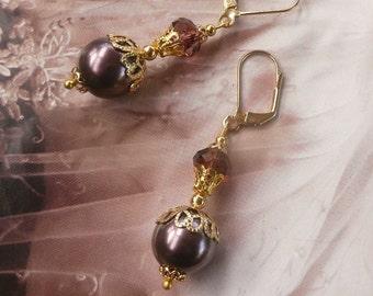 AUBERGINE PEARL EARRINGS Wine Red Burgundy Plum Amethyst Purple Swarovski Crystal Antique Jewelry Jewellery Jewellry drop dangle Bridesmaid