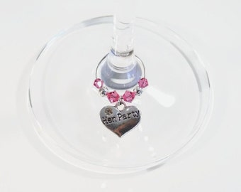 Hen Party Wine Glass Charm - Swarovski Crystal - Hen Night Wine Glass Charm - Hen Party Gift - Hen Party Accessories - Girls Night Out