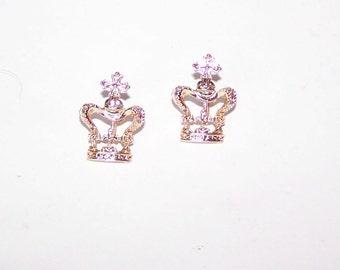 Crown Earrings / Royalty / Drama Queen / Gold Crown / FIligree - Screw Back