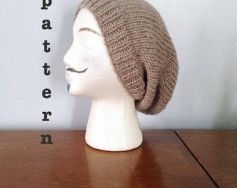 PATTERN Knit Slouchy Beanie - Knitting Patterns - Mens Beanie Pattern - Knit Slouchy Beanie Pattern - Womens Beanie - Everett Beanie Pattern