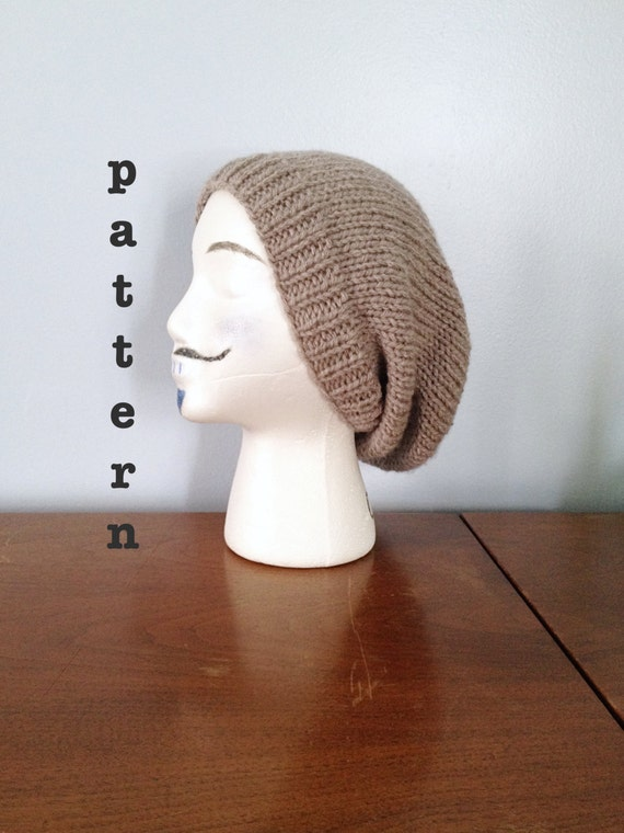 Mens Slouchy Beanie Knitting Pattern : PATTERN Knit Slouchy Beanie Knitting Patterns Mens Beanie