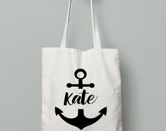 Personalised Anchor Tote Name , Bridesmaid Tote Bag , Bridesmaid Gift , Anchor Tote ,  Custom Tote Bag , Personalized Gift Bag - Tote Bag